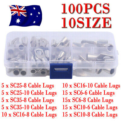 100PCS Copper Cable Lugs Kit 6mm 10mm 16mm 25mm 35mm Battery Terminal 4WD