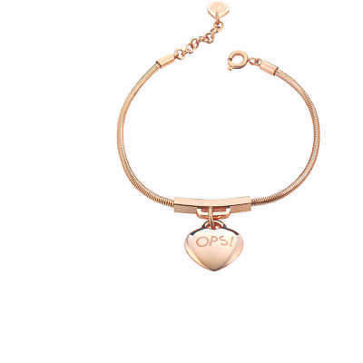 Bracciale Donna Ops Objects OPSBR-365 Acciaio Oro Rosa Charms Cuore