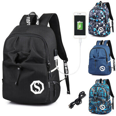 Waterproof Travel Bag Anti-Theft Mens Backpack Shoulder School Bag USB Charger