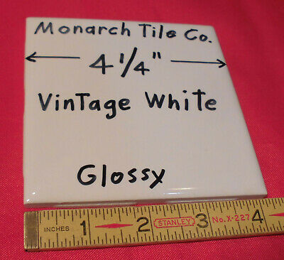 """1 pc. *Vintage White* 4-1/4"""" Glossy Ceramic tile by The Monarch Tile Co.  NOS"""