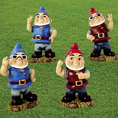 Funny Garden Gnomes Cheeky Rude Gnome Statue Set Naughty Bobble Head Wobble Gift
