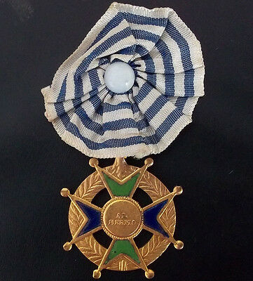 Uruguay Antique Catholic Education Prize Medal Cross To Merit With Ribbon
