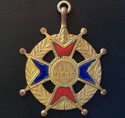 Antique Catholic Education Medal Cross To Merit Enameled Blue & Red Excellent!!