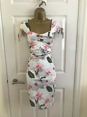 Grey Floral Stretch Bodycon Evening Party Occasion Pencil Midi Wiggle Dress £65