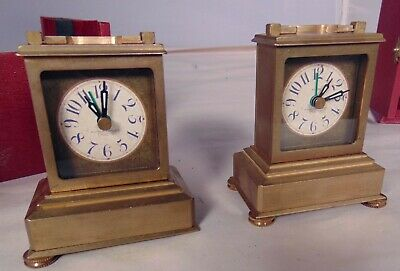 Pair Timeworks Brass Book Shelf Mantle Clock Alarm Berkley California