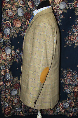 Vintage CARLO Tweed Angora Check Jacket 42/44' ? Suede Elbow Patches TALL