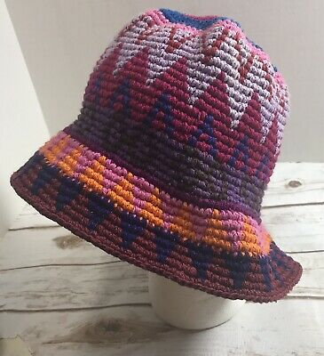 Vintage Hand Made in Guatemala Bucket Hat Eucalyptus Bright Multi Colored