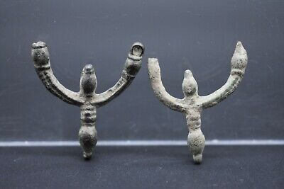 Group of 2 Medieval Byzantine bronze earrings C. 12th century AD
