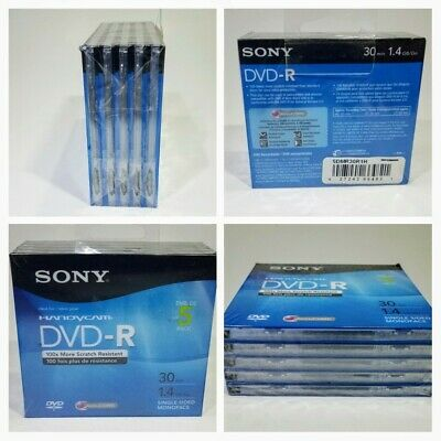 Sony Handycam Dvd-R 5 Pack Includes Plastic Cases - Recordable 30 Minutes 1.4 Gb