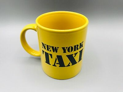 Vintage New York City Taxi Yellow Coffee Tea Mug Cup with Travel Price Fares EUC
