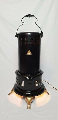 Antique Converted Perfection Smokeless Oil Heater Lamp 525M1 Artist Signed