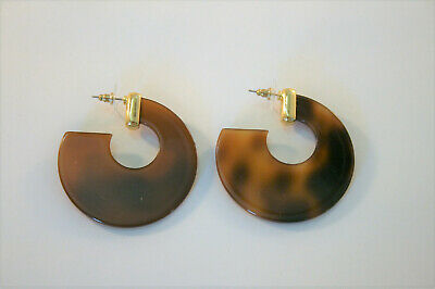 Gold tone faux tortoise shell large wide hoop earrings