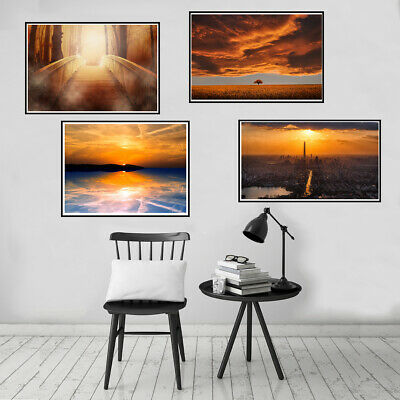 Nordic Sunset Sky Landscape Canvas Painting Poster Picture Home Wall Art Decor