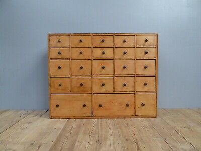 Large Bank Of Antique Vintage Victorian Pine Seed Drawers Apothecary Chemist