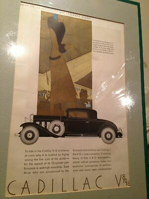 Cadillac V Automobile Car magazine advertisement matted and mounted