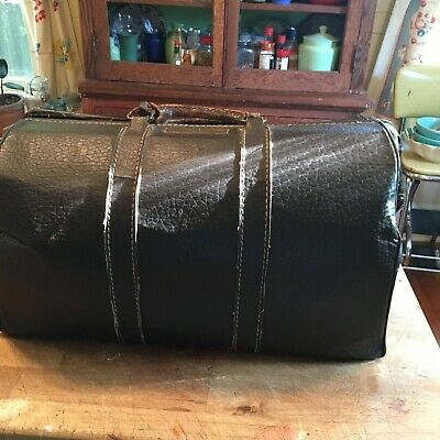 Vintage Old Leather Doctor's Medical Bag With Brass Name plate