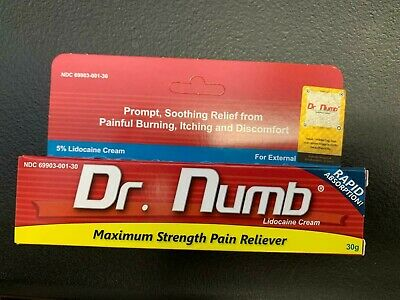 Dr.Numb 5% Lidocaine Numbing Cream 30g Skin Tattoo Wax Piercing Exp 11/2021