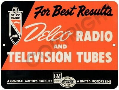 "DELCO Radio & Television Tubes GM Vintage Look 9"" x 12"" Metal Tin Aluminum Sign"