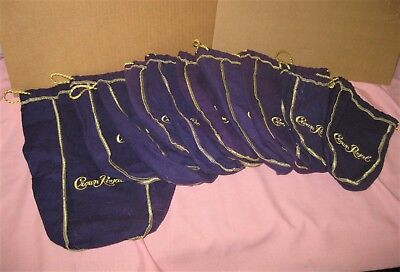 Lot  of 10 Crown Royal Purple Felt Drawstring Bags Gold Trim Mixed Sizes