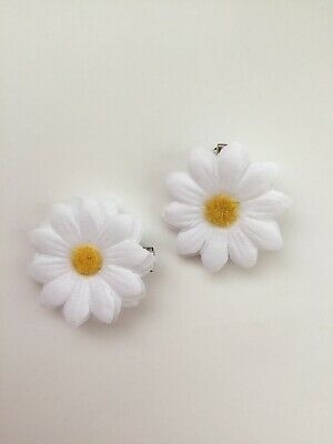 "Pair Small 2"" Girls White Daisy Flower Hair Clip Girls White Daisy Hair Clip"