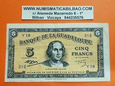 @SEE SCAN@ GUADELOUPE 5 FRANCS 1942 COLOMB Pick 21 France colony RARE WWII