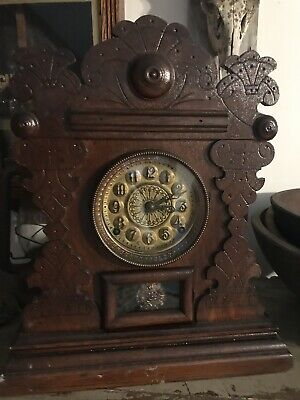 Antique E.N. Welch Gingerbread Mantel Clock Unique Style 8 Day 1/2 Hour Strike
