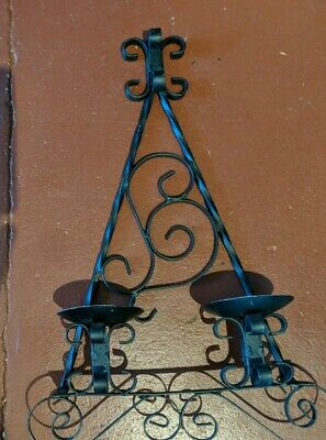 Wrought Iron Gothic Double Candle Wall Sconce Medieval Style