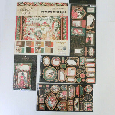 Lot 5 Graphic 45 Enchanted Forest Chipboard Cardstock Stickers Cards 12 X 12 Pad