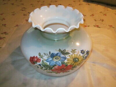"""Vtg Glass Lamp Shade for Hurricane Lamp 10"""" Fitter White with colorful Flowers"""