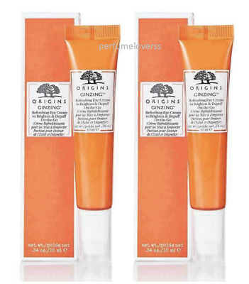 2 x Origins Ginzing Refreshing Eye Cream On The Go 10ml -FREE POST-