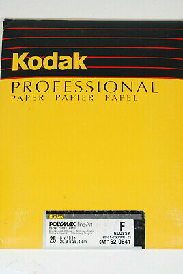 "New Kodak 25 sheets - 8x10"" Polymax Fine-Art B&W F Glossy Double Wt. Photo Paper"