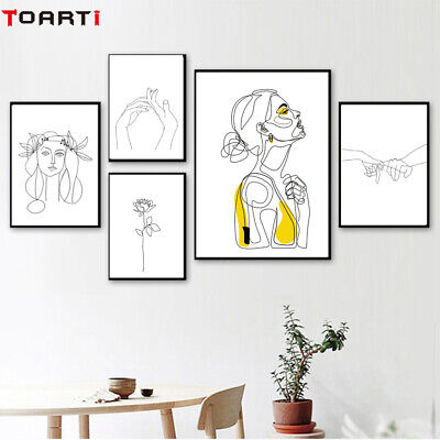 Abstract Women Line Drawing Nordic Poster&Prints Modern Canvas Painting Wall