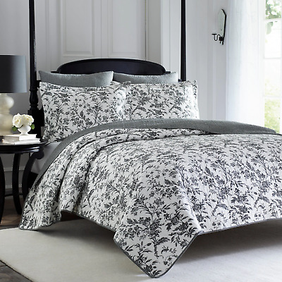 Beautiful Cottage Chic Shabby Country Grey Black White Leaf Antique Quilt Set