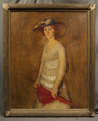 "Oil Painting Portrait of an Elegant Lady Wearing Large Hat, signed ""BAUS '18"""
