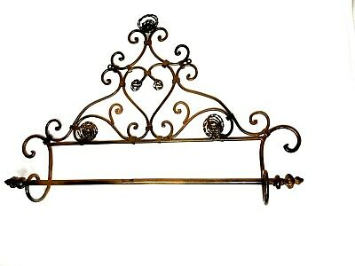 "Wrought Iron Vintage Towel Hanging Rack 26"" Long Ornate Heavy Bath Outdoor"
