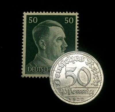 Rare Antique German 200 Mark 1923 Coin & Unused Stamp World War 1 & 2 Artifacts