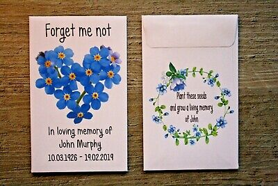 10 Personalised Funeral Seed Envelopes Packets Favours Forget Me Not Remembrance