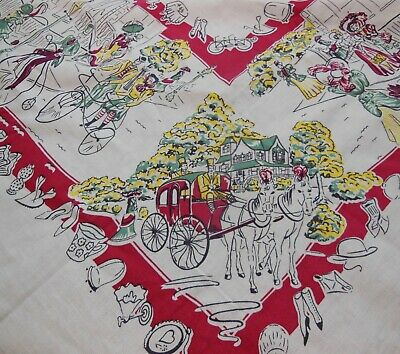 Vintage  BRODERIE & PENNICRAFT 1890S Theme Tablecloth Bright Colorful Fun