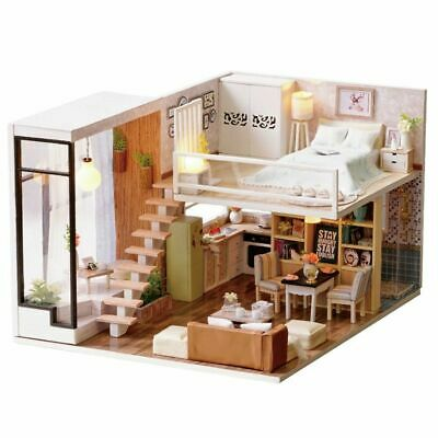 Mini  Dollhouse Happy Times DIY Wooden LED Lights Furniture Kits Super