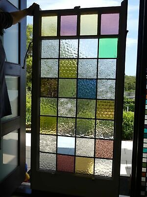 Large stained glass leadlight window in vintage timber frame