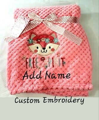 Shower Gift Personalized Football Game Day Applique Minky Baby Blanket 30x40