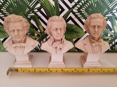 G. Ruggeri Carved Bust of Composers Schubert, Chopin and Mozart Made in Italy.