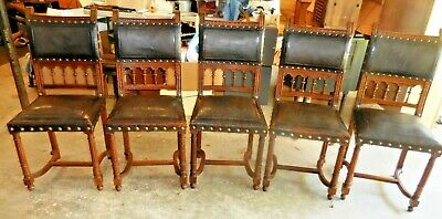 5 Antique French Ebenisterie Wooden Side Chairs Leather Upholstery Brass Tacks