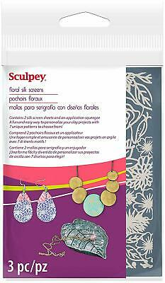Sculpey Silk Screen  - 2 Reuseable Silk Screens -  Floral - New!