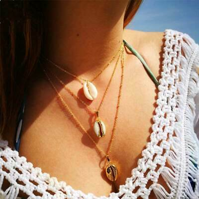 Boho 3-Layer Beach Sea Shell Cowrie Pendant Chain Choker Necklace Retro Jewelry