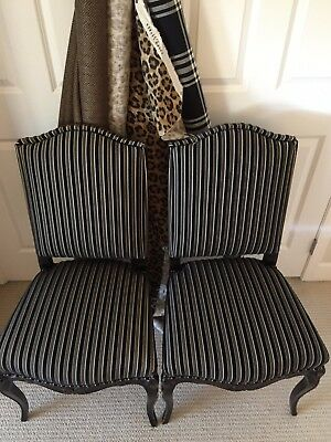PAIR / NEW Ralph Lauren Abberly Stripe upholstered French Dining Chairs
