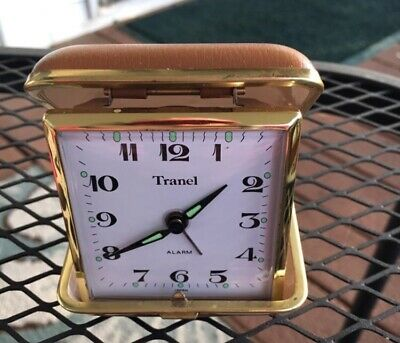Vintage Wind Up Travel Alarm Clock by Tranel with Vinyl Case Made in Japan XCond