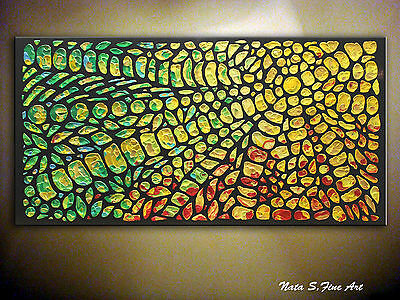 Original Modern Heavy Textured Abstract Colorful Large Painting by Nata S