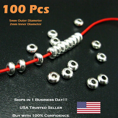 100//50Pcs Stainless Steel Silver Big Hole Round Spacer Beads DIY Jewe/_sh