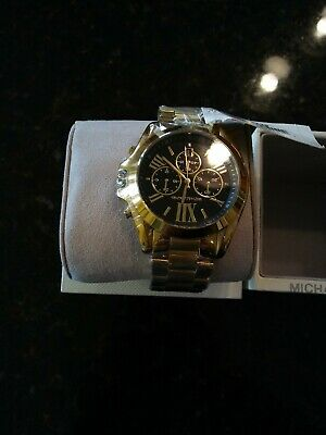 f1901b83a MICHAEL KORS MK5739 Watch Chronograph Bradshaw Gold-Tone Black Dial ...